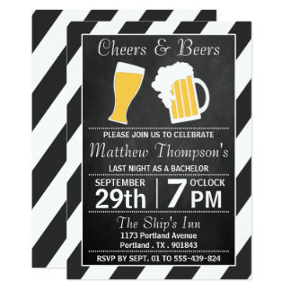 Cheers & Beers Chalkboard Bachelor Party Invitation