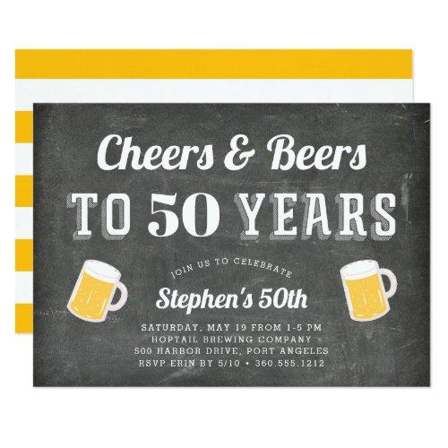 Cheers & Beers Milestone Birthday Party Invitation