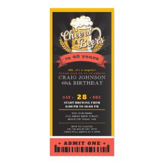 Cheers & beers ticket pass birthday party invitation