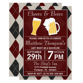 Cheers & Beers Trendy Red Bachelor Party Card