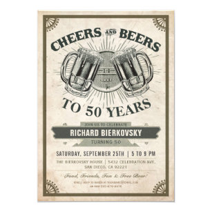 Cheers Beers Vintage Birthday Party Invitation