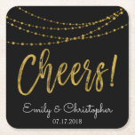 """Cheers Black and Gold Foil String Lights Square Paper Coaster<br><div class=""""desc"""">Cheers Black and Faux Gold Foil String Lights Wedding Coasters for a Elegant Wedding Reception or Rehearsal Dinner. The name and date can be updated on this coaster.</div>"""