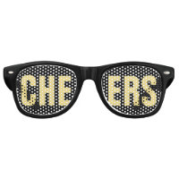 'CHEERS' Black and Gold Party Retro Sunglasses