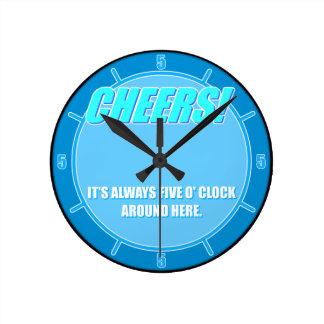 Cheers! Bottle cap Blue Round Clock