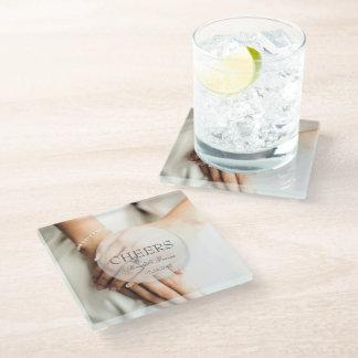 Cheers- Bride diamond ring editable wedding Glass Coaster