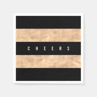Cheers Bronze Foil Black Stripes Holiday Party Paper Napkin