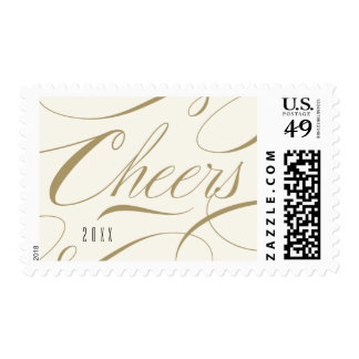 Cheers Calligraphy Script Corporate Holiday Stamps