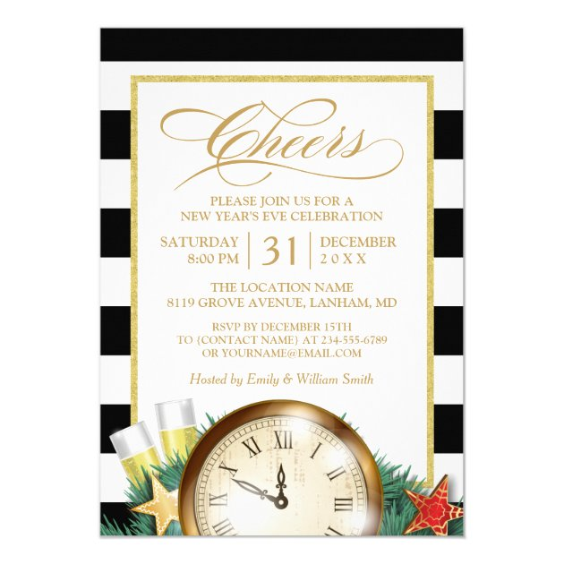 Cheers Champagne Clock Stripes New Years Eve Party Card (back side)