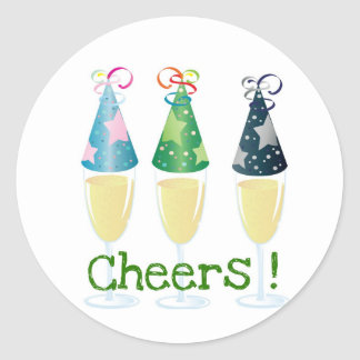 CHEERS! CHAMPAGNE PARTY HAT PRINT ROUND STICKERS