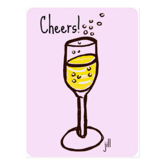 Cheers! Champagne sketch by jill in 60s pink Postcard
