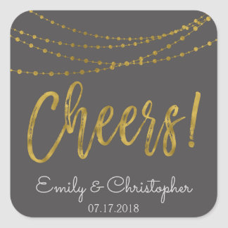 Cheers Charcoal Grey and Gold Foil String Lights Square Sticker