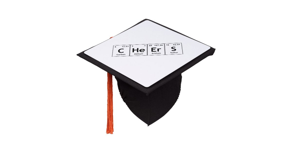 Cheers Chemistry Periodic Table Words Elements Graduation Cap Topper