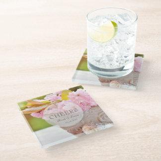 Cheers-Cherryblossoms editable wedding Glass Coaster