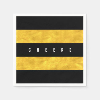 Cheers Chic Gold Foil Black Stripes Holiday Party Napkin