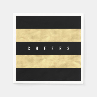 Cheers Chic Gold Foil Black Stripes Holiday Party Paper Napkin