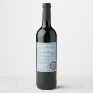 Cheers! Classic Floral Thank You Wine Lable Wine Label