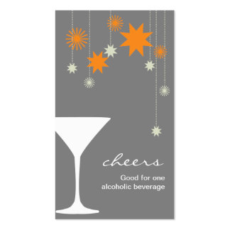 Cheers cocktail drink ticket new year party event Double-Sided standard business cards (Pack of 100)