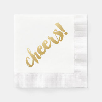 Cheers! Cocktail Napkins - Gold