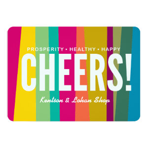 cheers & colorful patterned 5x7 paper invitation card