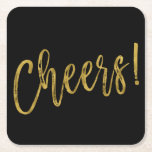 """Cheers Faux Gold Foil and Black Drink Coasters<br><div class=""""desc"""">Cheers Faux Gold Foil and Black Drink Coasters for Birthday,  Anniversary or Wedding Celebration or Party.</div>"""