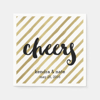 Cheers | Faux Gold Stripe Wedding Engagement Paper Napkin
