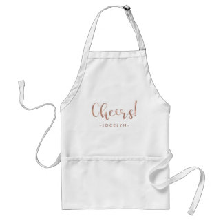 Cheers | Faux Rose Gold Typography with your Name Adult Apron