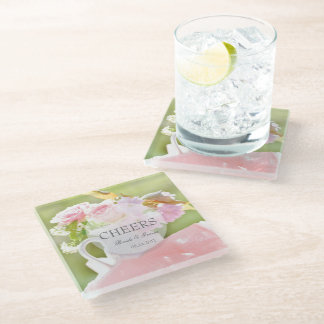 Cheers-Fresh Spring Flower editable wedding Glass Coaster