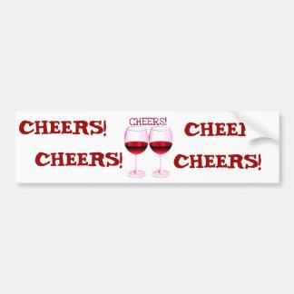 CHEERS! FUN PARTY RED WINE PRINT CAR BUMPER STICKER