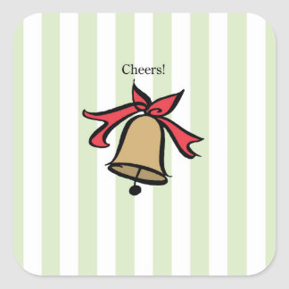 Cheers Gold Bell Stickers Green
