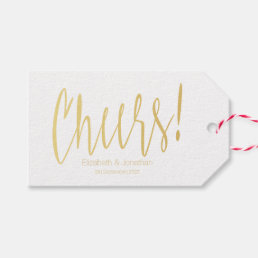 Cheers Gold Calligraphy Wedding Favor Tag