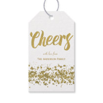 Cheers gold glitter gift tags