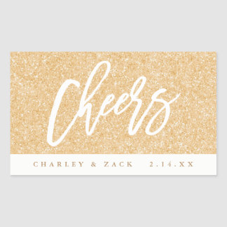 Cheers Gold Glitter Mini Wine Mini Champagne Label