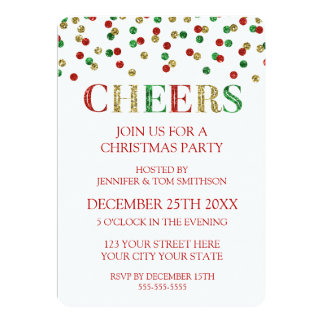 Cheers Gold Red Glitter Confetti Christmas Party Card