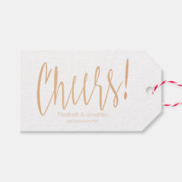 Cheers Gold Rose Calligraphy Wedding Favor Tag