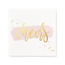 CHEERS HAND LETTERED SCRIPT type gold blush pink Paper Napkin