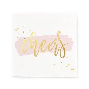 Christmas Themed CHEERS HAND LETTERED SCRIPT type gold blush pink Paper Napkin