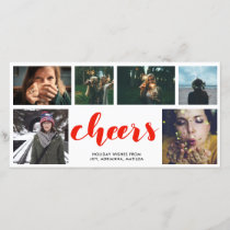 Cheers Handwritten Red Script Six Photo Collage Holiday Card
