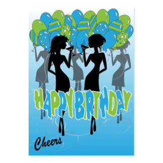 Cheers, Happy Birthday Party Girls Large Business Card