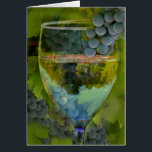 """Cheers Happy Birthday Wine Card! Card<br><div class=""""desc"""">No better way to send cheers then this beautiful wine birthday card!  Features a glass of wine with grapes and grape leaves in the background. It can be customized too!  A great way to send Birthday wishes to any wine lover!</div>"""