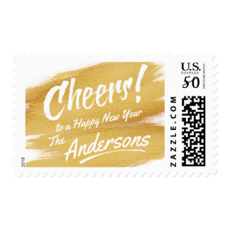 Cheers Happy New Year Gold Brush Stroke Holiday Postage