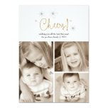 Cheers Happy New Year Gold Fireworks Photo Card