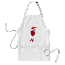 Cheers! HOLIDAY RED WINE PRINT by jill Adult Apron