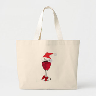 Cheers! HOLIDAY RED WINE PRINT by jill Large Tote Bag