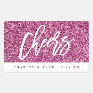Cheers Hot Pink Glitter Mini Wine Champagne Label