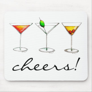Cheers! Margarita Manhattan Cosmo Cocktail Glass Mouse Pad