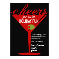 Cheers Martini Holiday Christmas Party Invitation