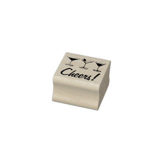 Cheers! Martini Manhattan Cosmo Cocktail Glass Rubber Stamp