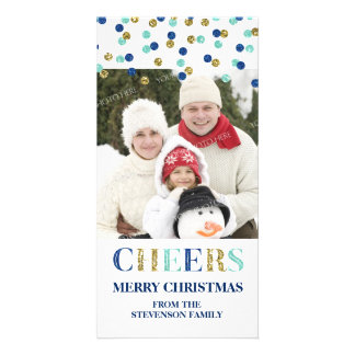 Cheers Merry Christmas Gold Blue Confetti Photo Card