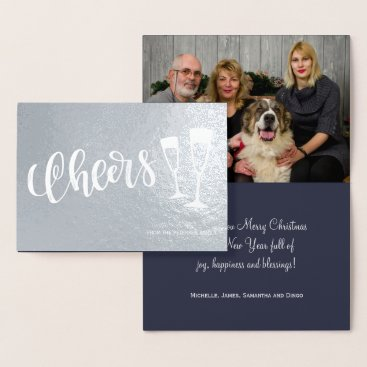 Beach Themed Cheers modern brushed script champagne flutes foil card