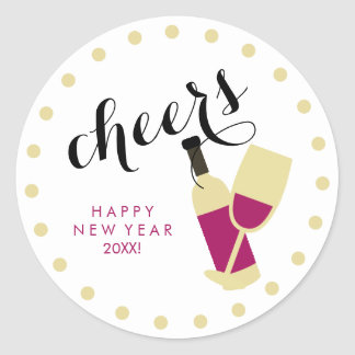 Cheers Modern Happy New Year Wine and Gold Dots Classic Round Sticker